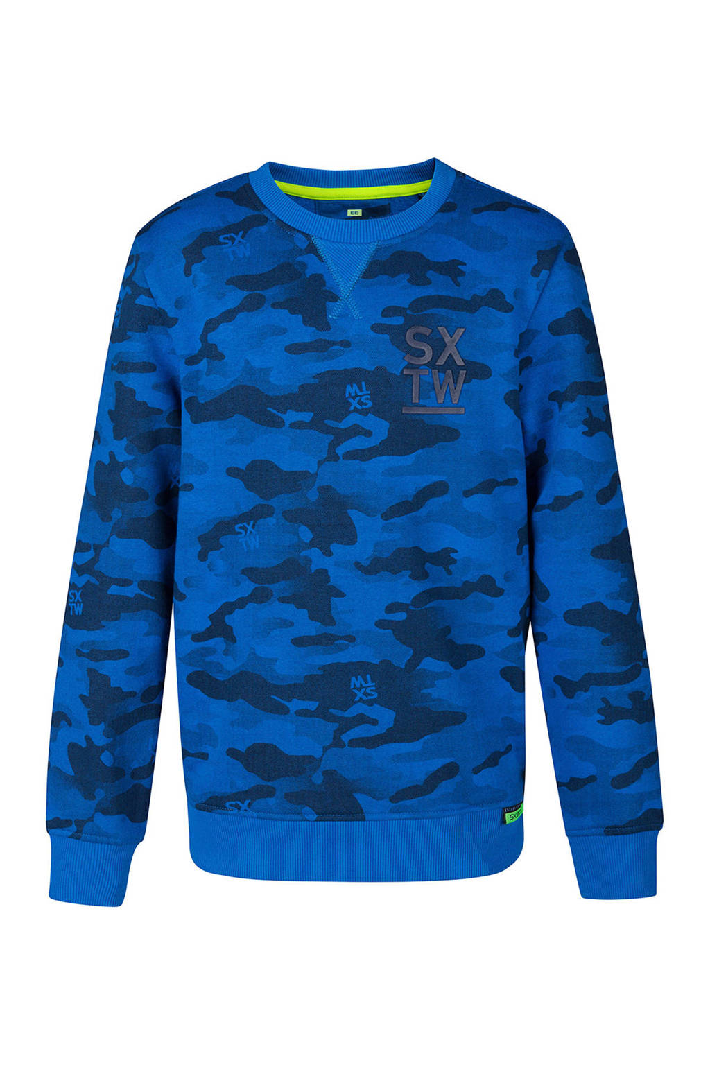 WE Fashion sweater met camouflageprint blauw, Blauw