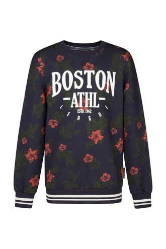 gebloemde sweater met tekst blauw