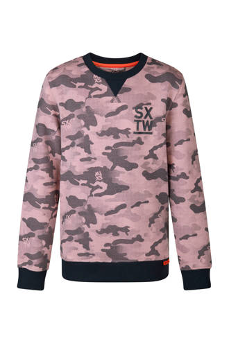 sweater met camouflageprint roze