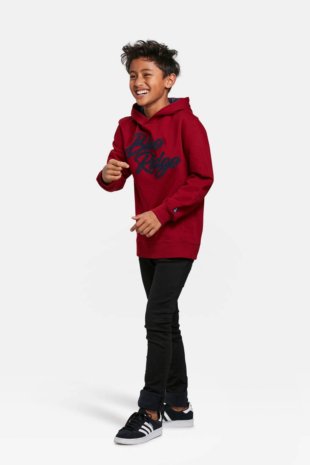 WE Fashion Blue Ridge hoodie met logo rood, Rood