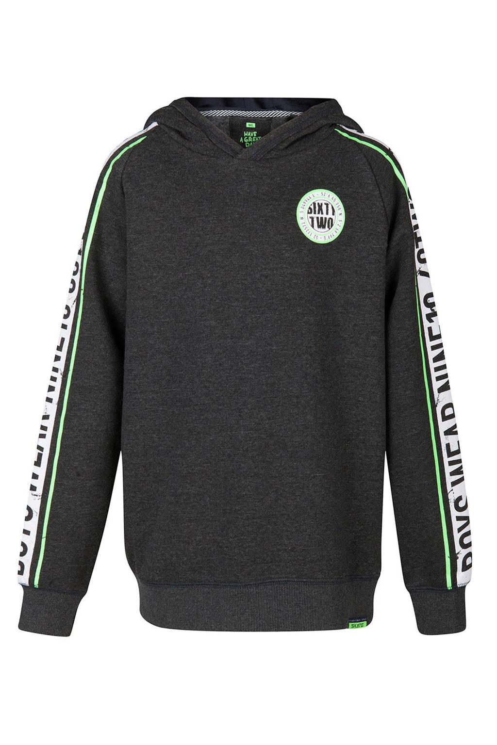 WE Fashion hoodie met zijstreep grijs, Donkergrijs