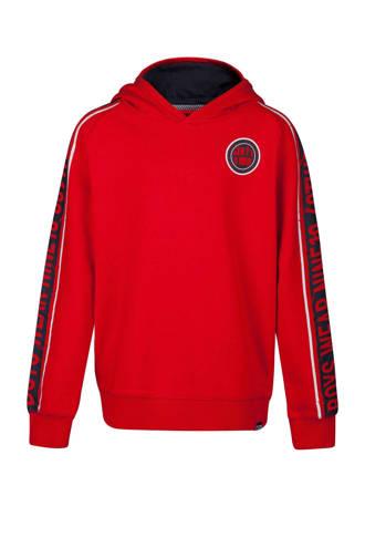 hoodie met zijstreep rood