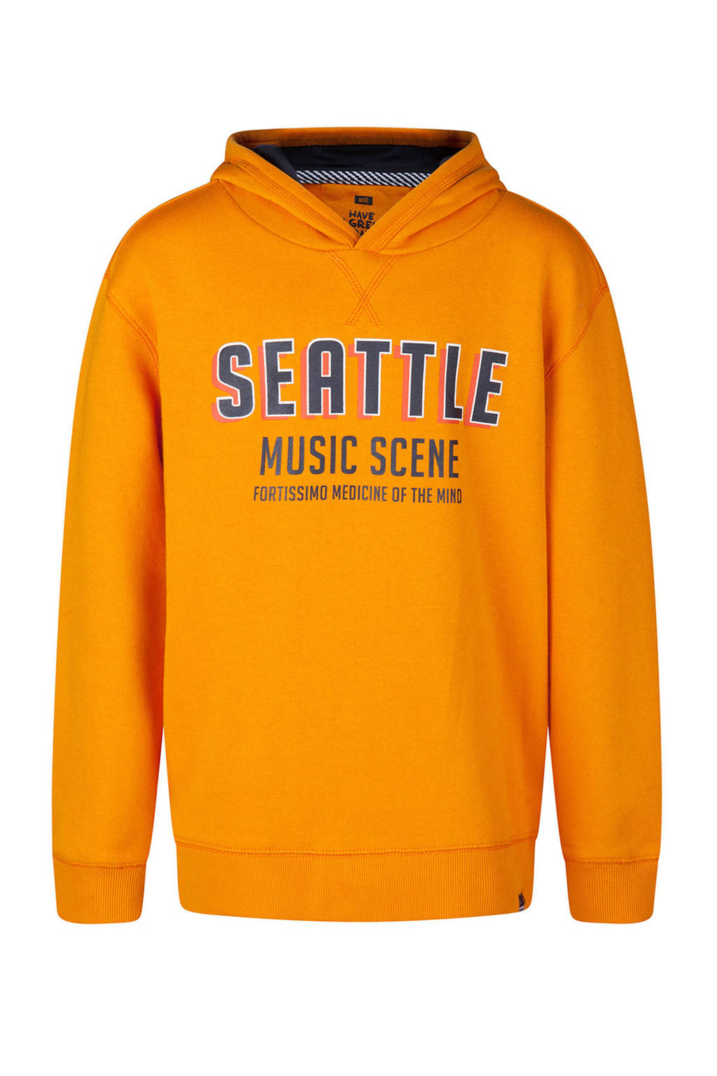 WE Fashion hoodie met tekst oker, Oker
