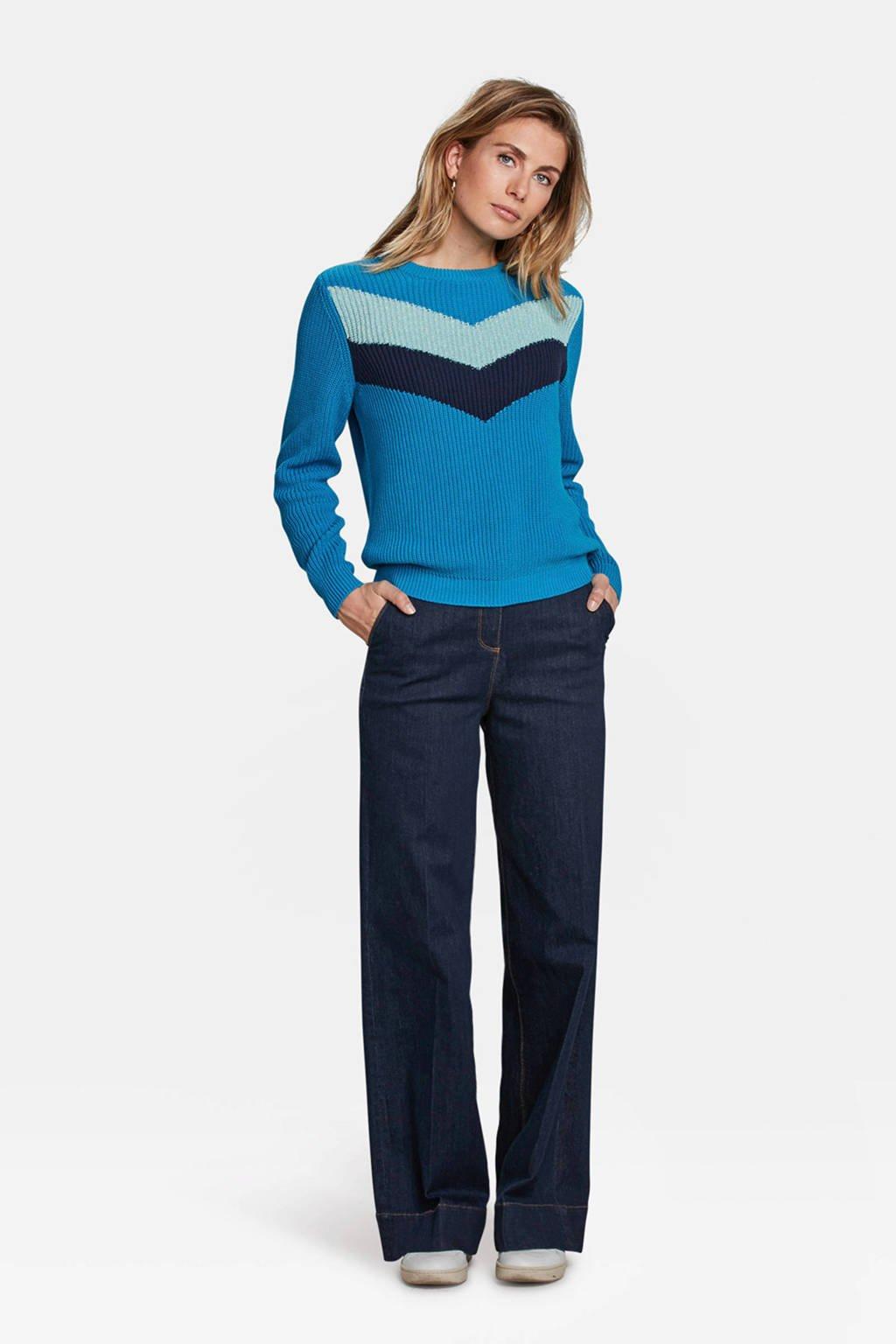 WE Fashion gebreide trui met colorblock dessin blauw, multi kleur blauw