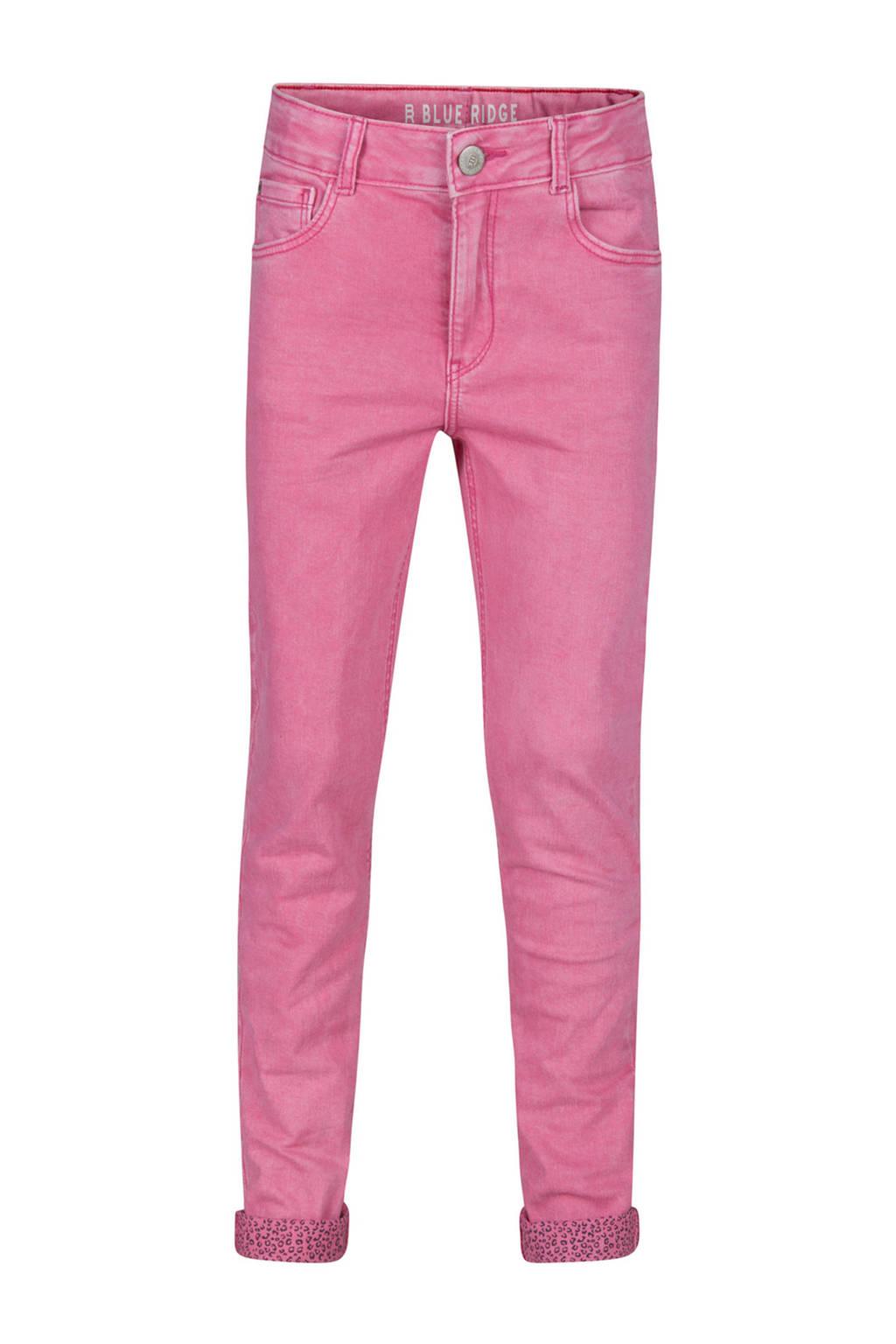 WE Fashion Blue Ridge skinny jeans Jenny met panterprint detail roze, Roze