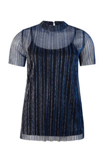 WE Fashion all over glitterdessin top marine blauw (dames)