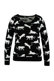 MS Mode trui met dierenprint zwart (dames)