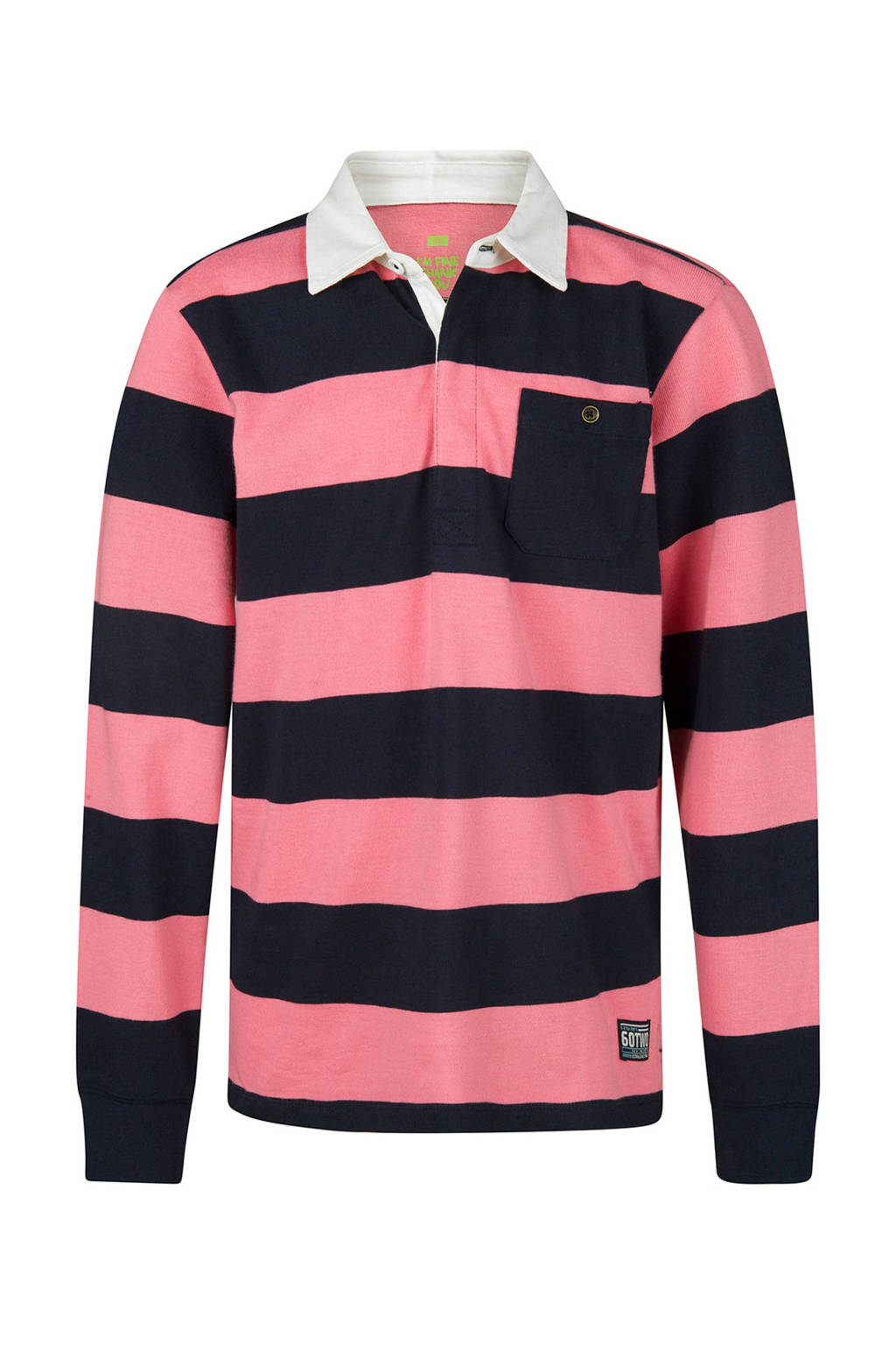 WE Fashion gestreepte polo roze, Roze/donkerblauw