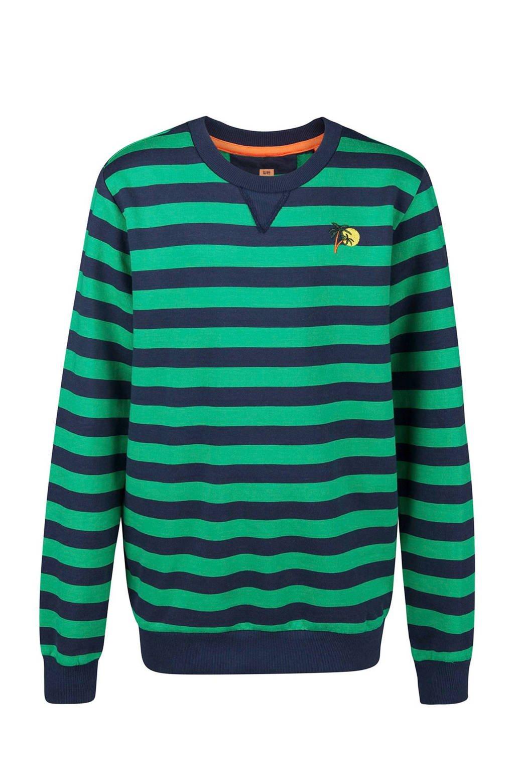WE Fashion gestreepte sweater groen, Groen/donkerblauw