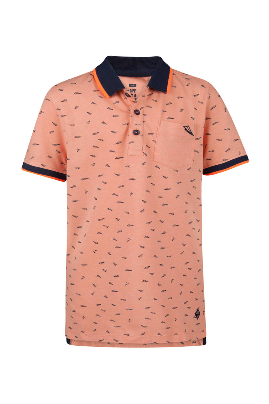WE Fashion katoenen polo all over print zalm, Zalm