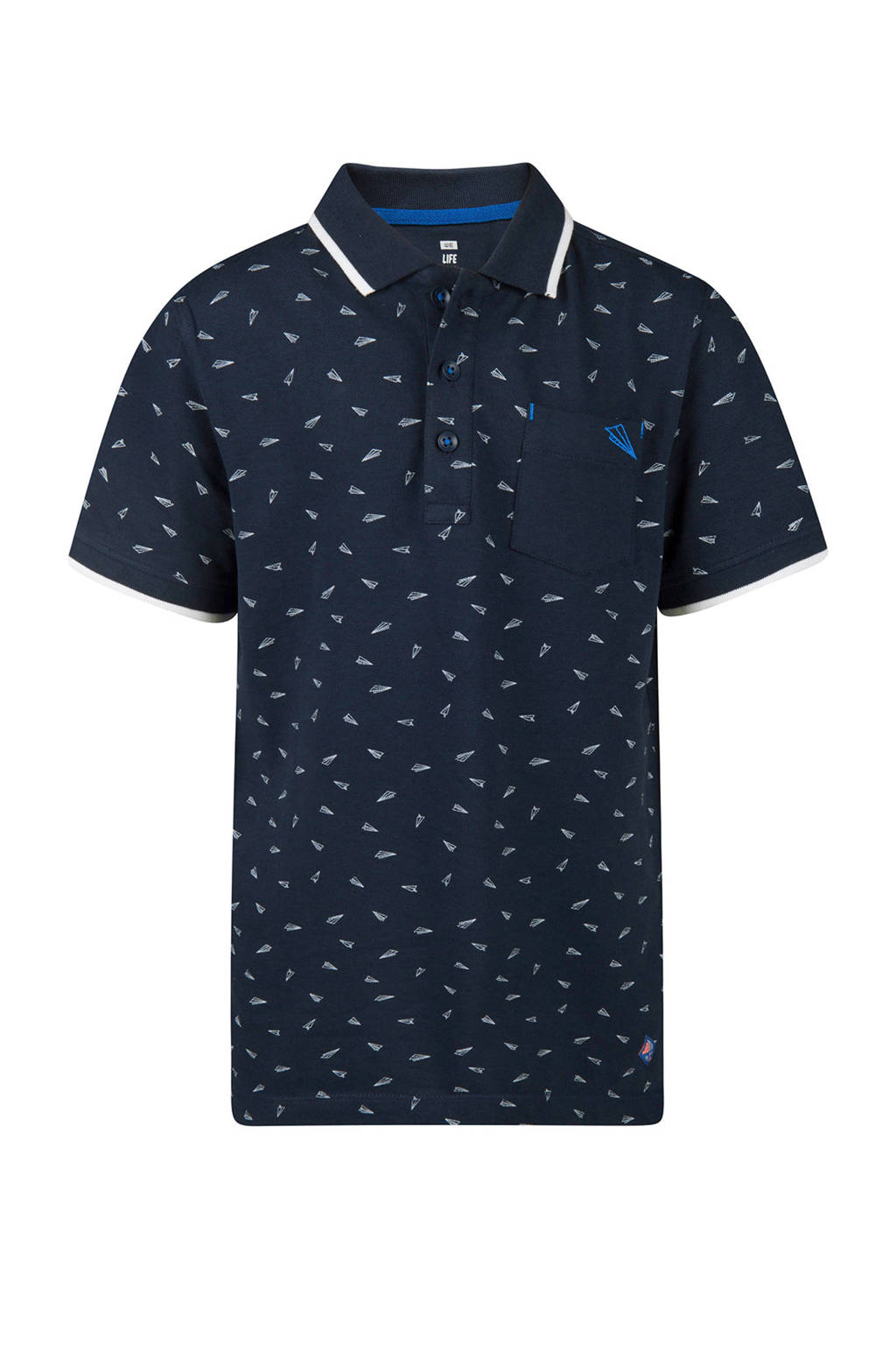 WE Fashion katoenen polo all over print blauw, Marine