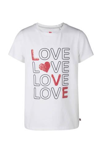 T-shirt met tekst en pailletten wit