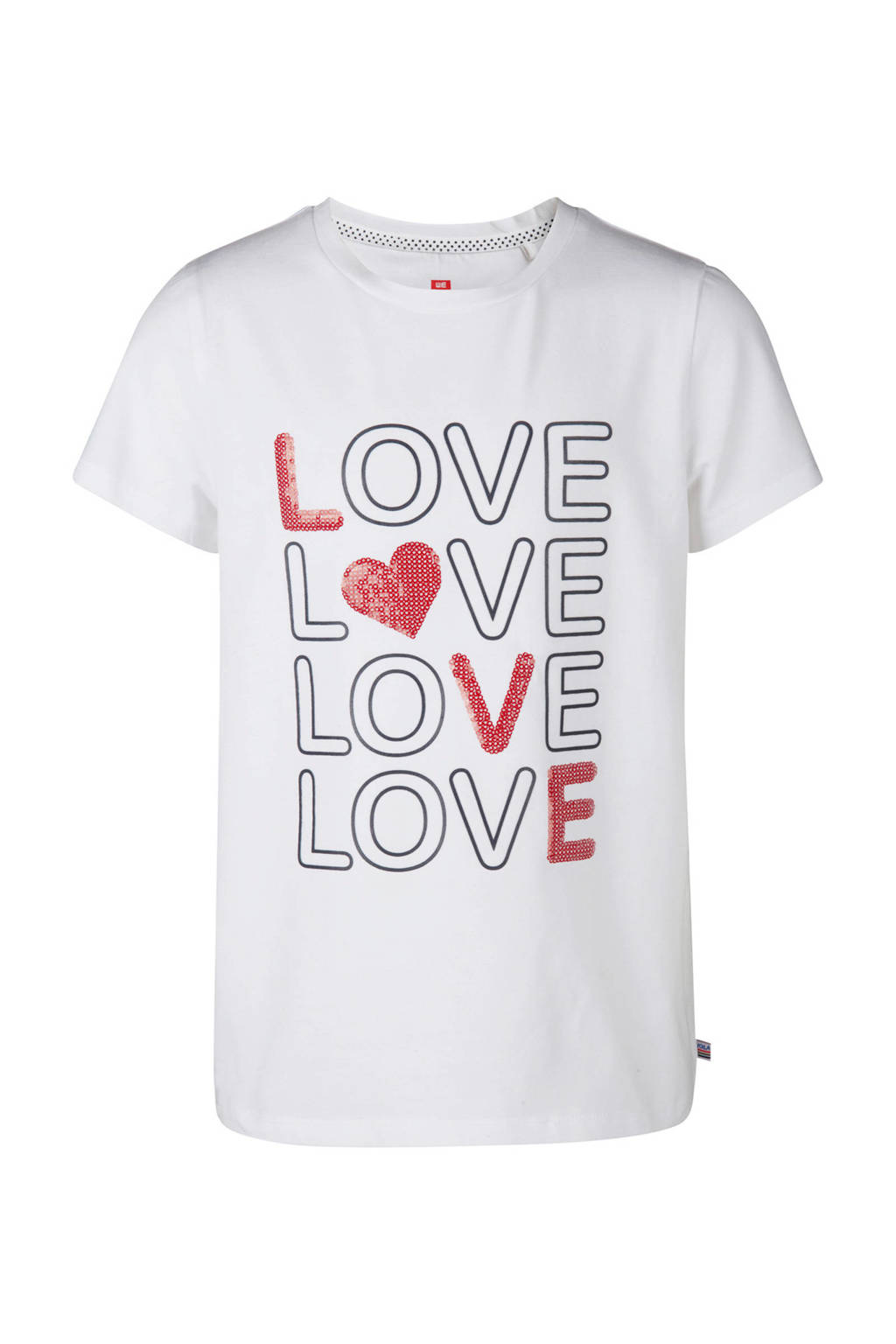 WE Fashion T-shirt met tekst en pailletten wit, Wit