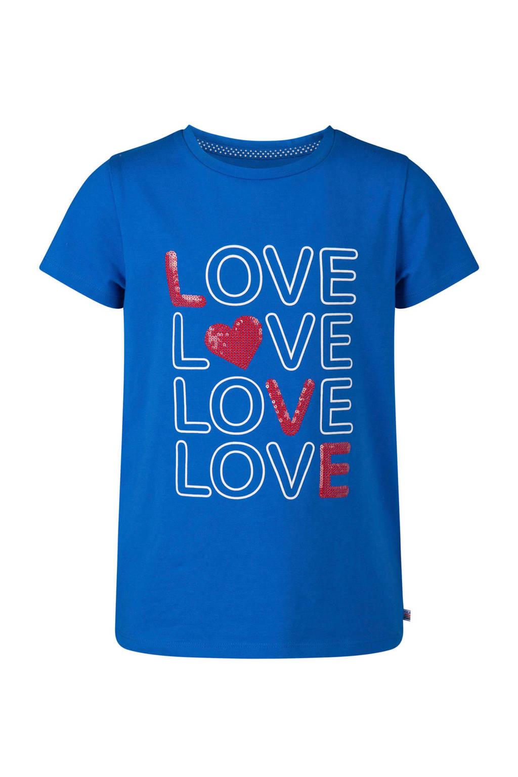 WE Fashion T-shirt met tekst en pailletten blauw, Blauw