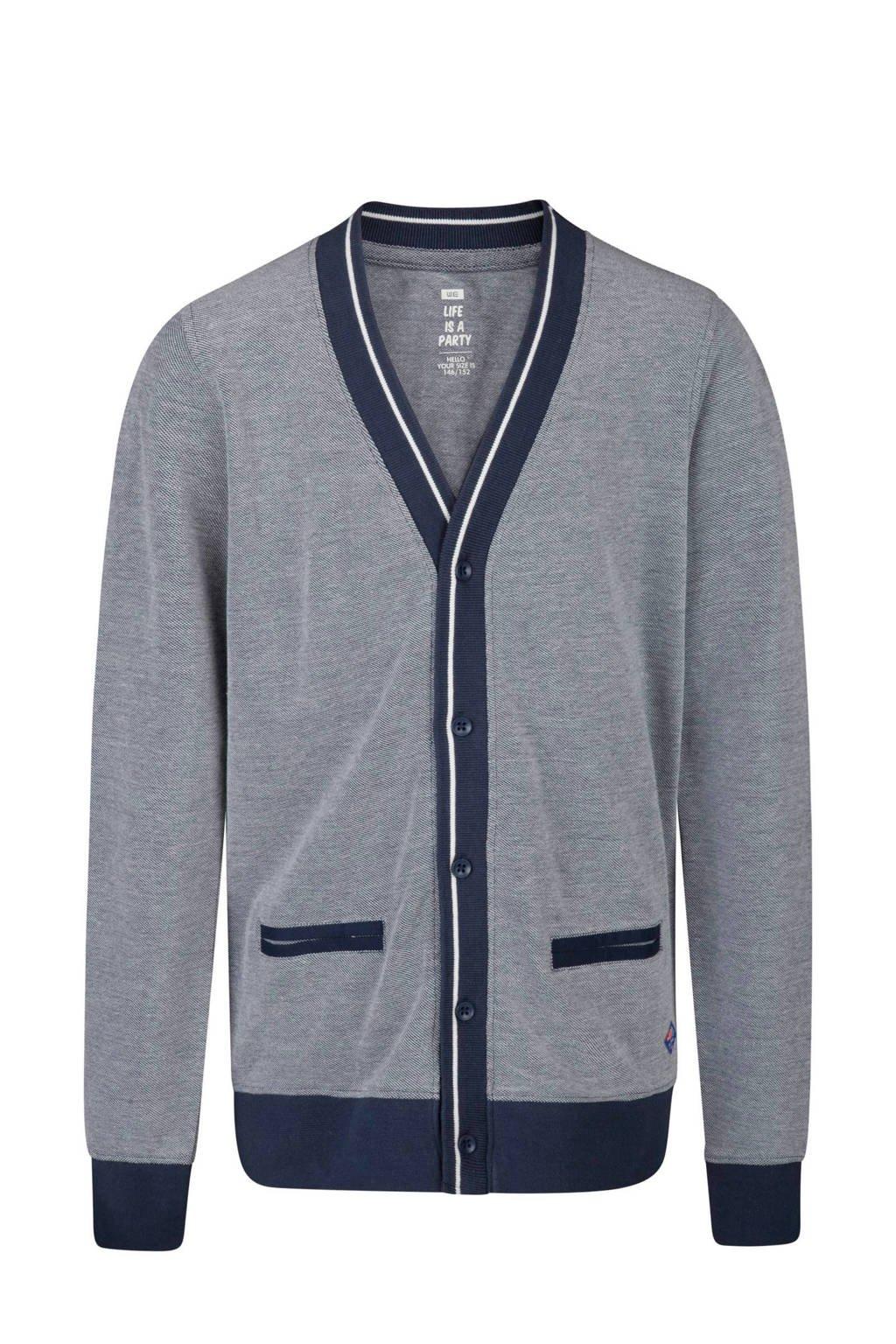WE Fashion vest met contrastbies blauw, Marine/blauw