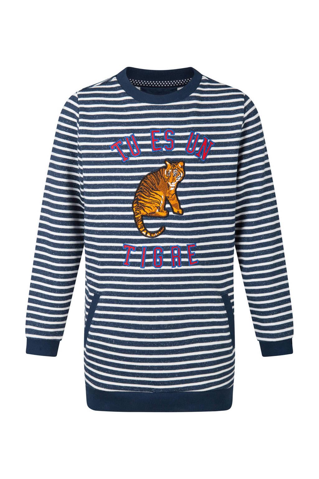 WE Fashion gestreepte glitter jurk met tijger en tekst blauw, Donkerblauw/wit