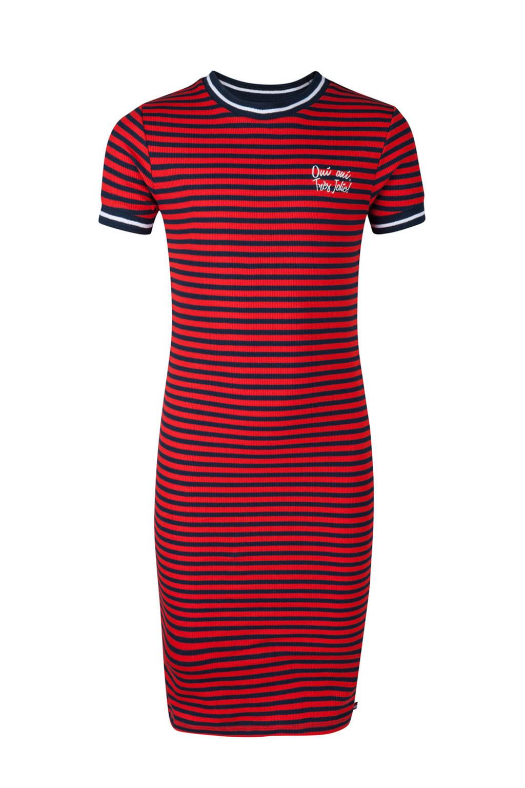 WE Fashion gestreepte jurk rood/blauw, Rood/blauw