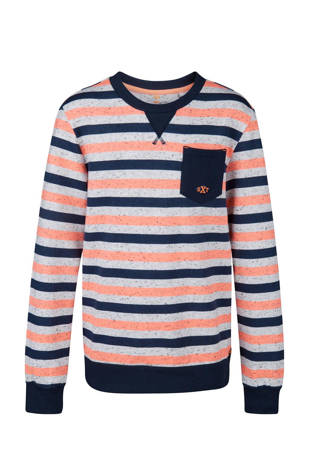 WE Fashion gestreepte sweater blauw, Donkerblauw/wit/zalm
