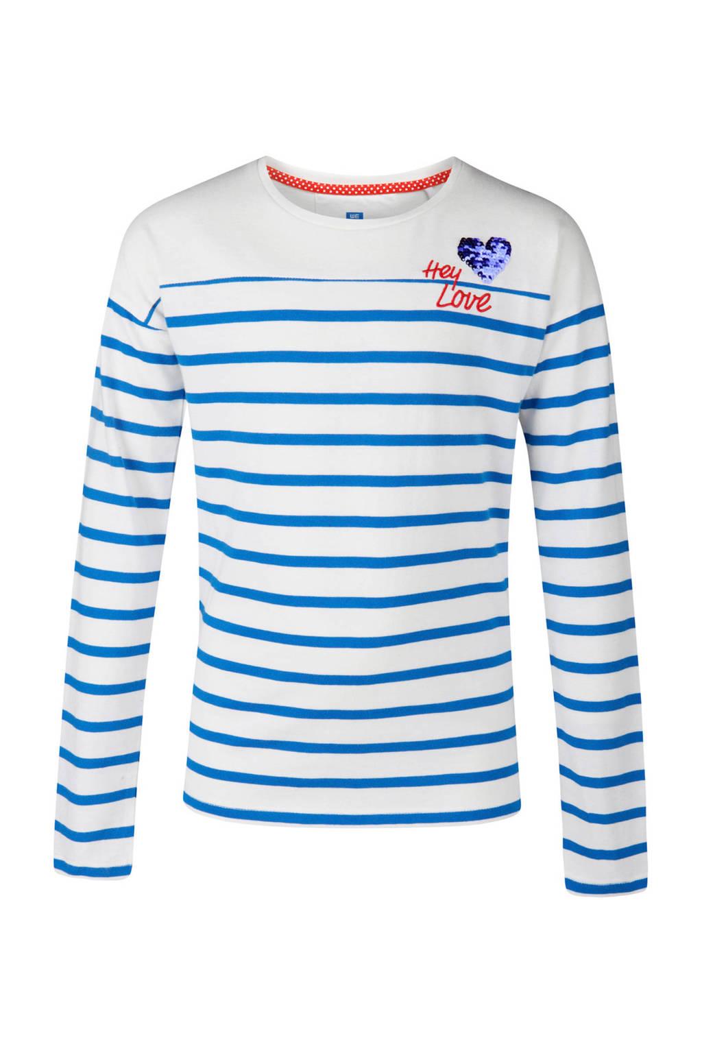 WE Fashion gestreepte longsleeve met pailletten wit, Wit/blauw
