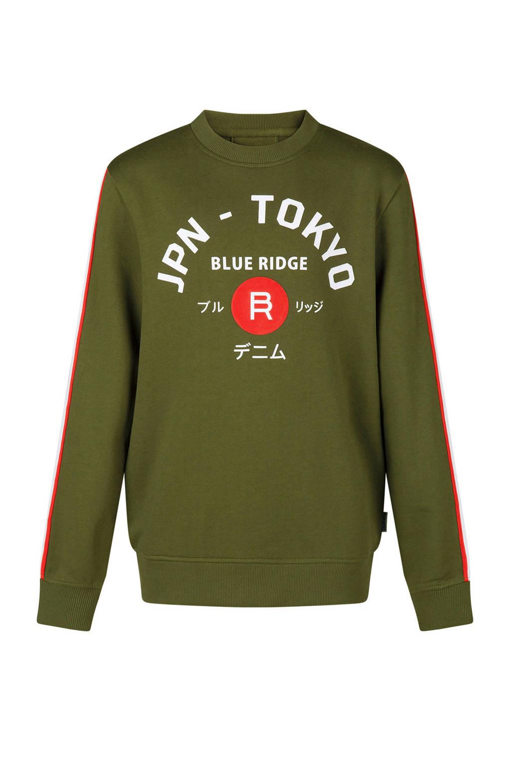 WE Fashion sweater met tekst en zijstreep groen, Legergroen