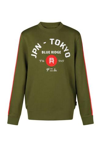 sweater met tekst en zijstreep groen
