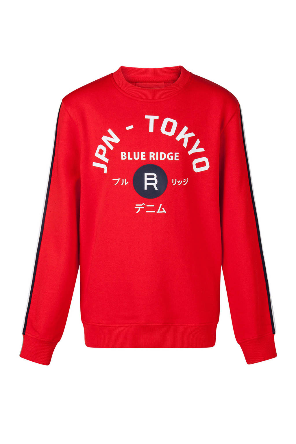 WE Fashion sweater met tekst en zijstreep rood, Rood/wit