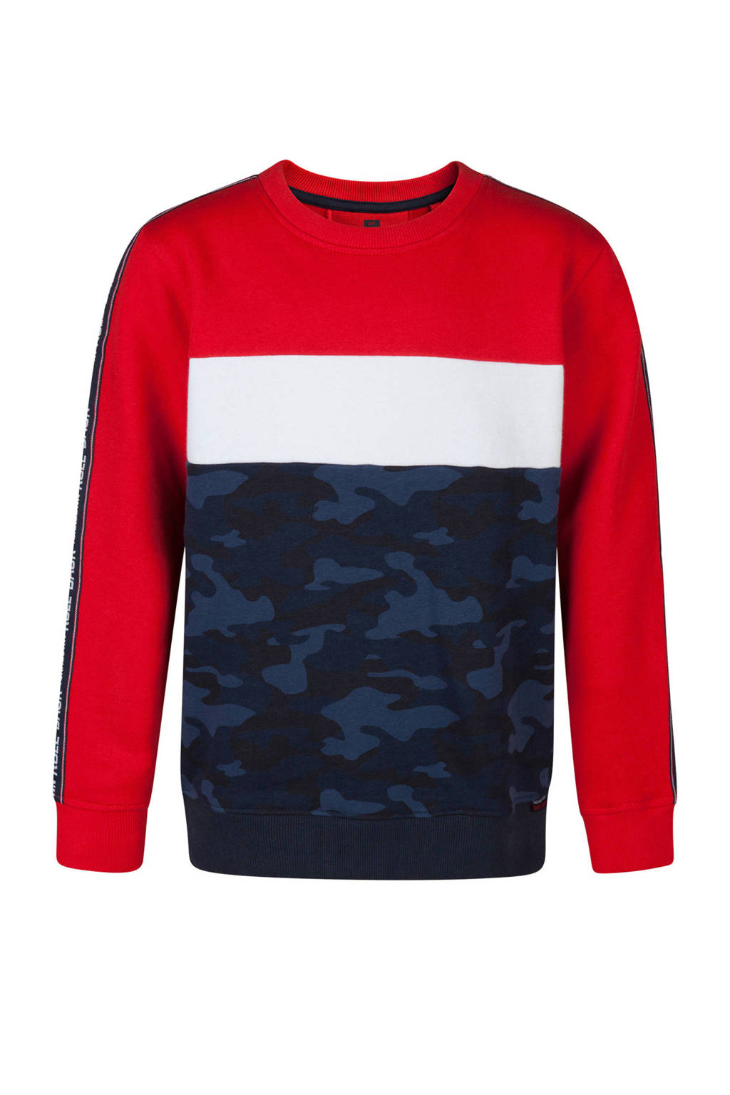 WE Fashion sweater met camouflageprint blauw/rood, Donkerblauw/rood/wit