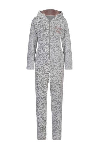 fleece onesie met panterprint grijs