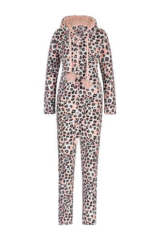 fleece onesie met panterprint roze