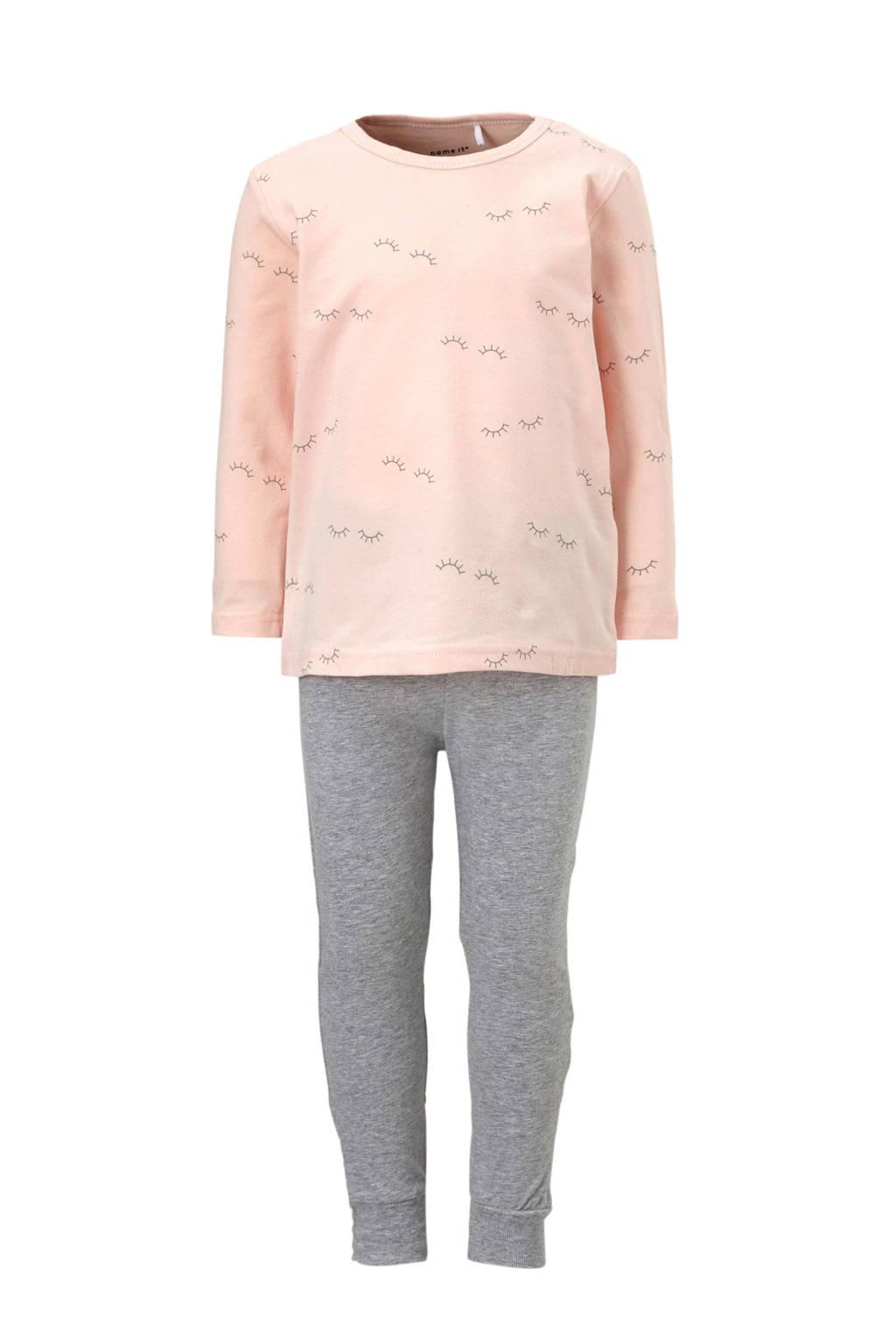 name it MINI pyjama met oogjes roze, Lichtroze/grijs