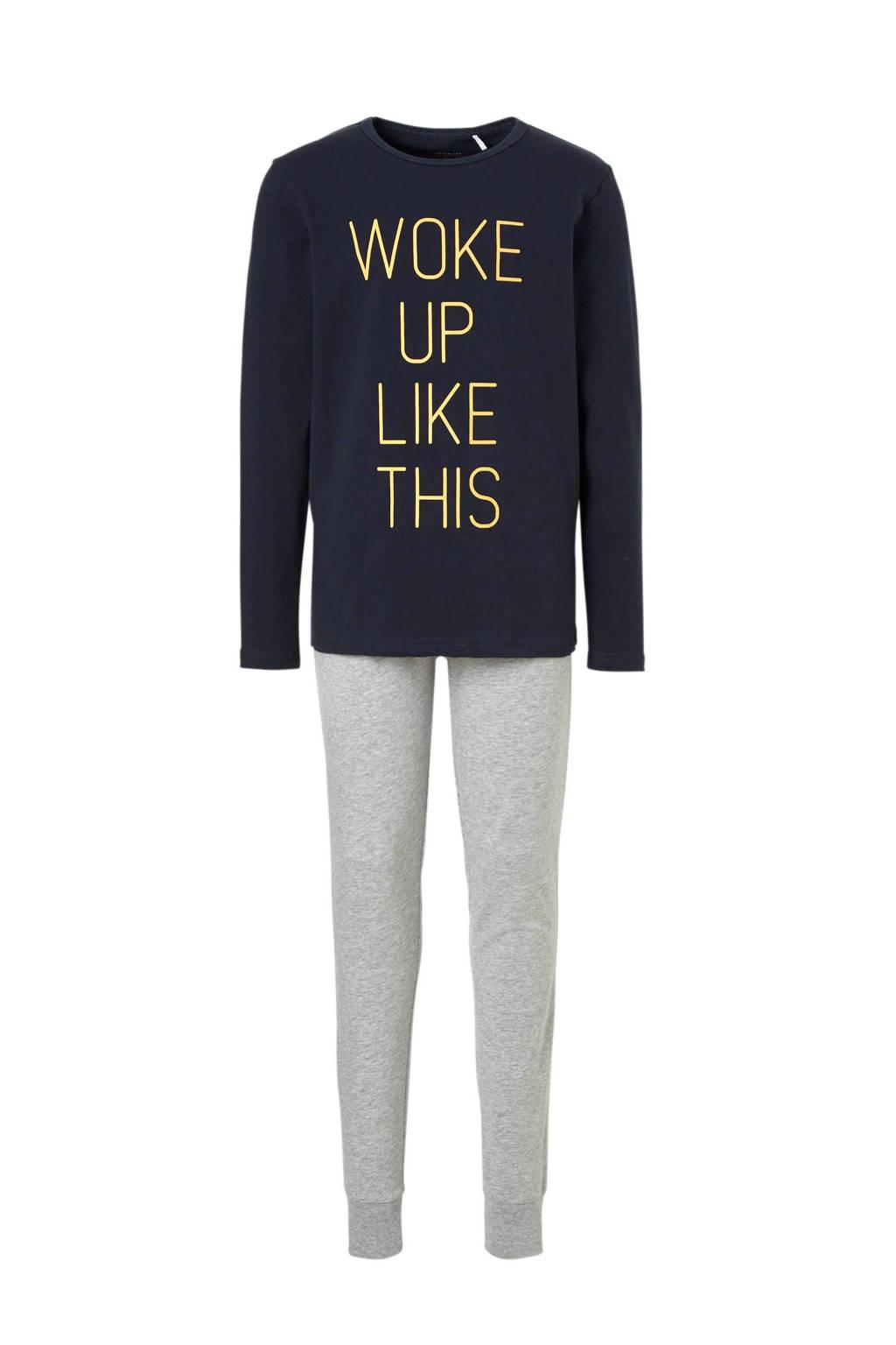 name it   pyjama met tekst blauw, Donkerblauw/grijs