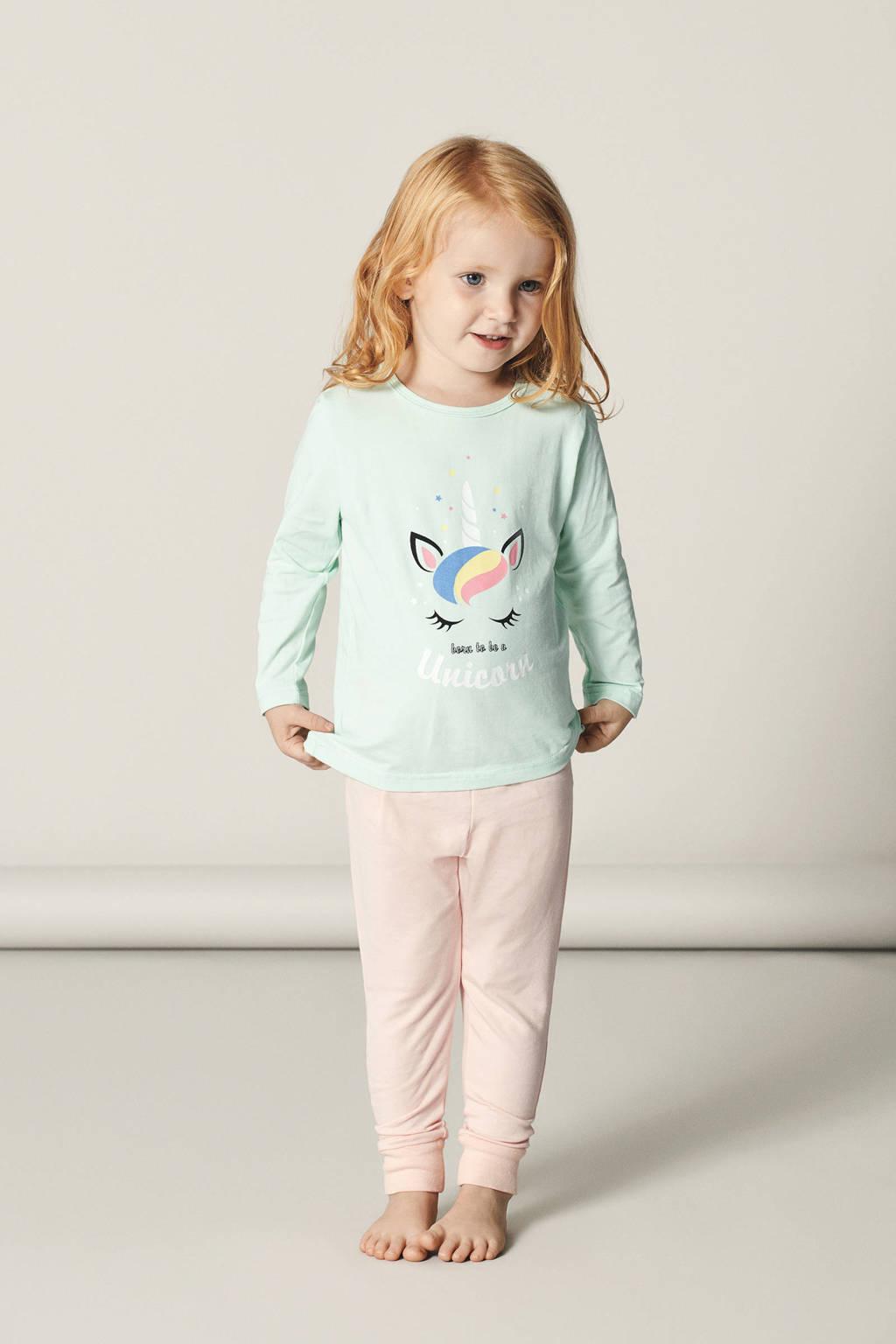 NAME IT MINI pyjama met eenhoorn mint, Mintgroen
