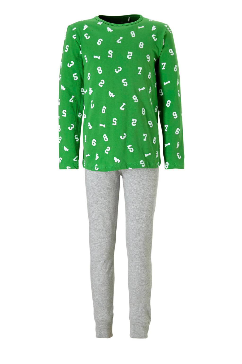 name it   pyjama met cijfers, Groen/ grijs melange
