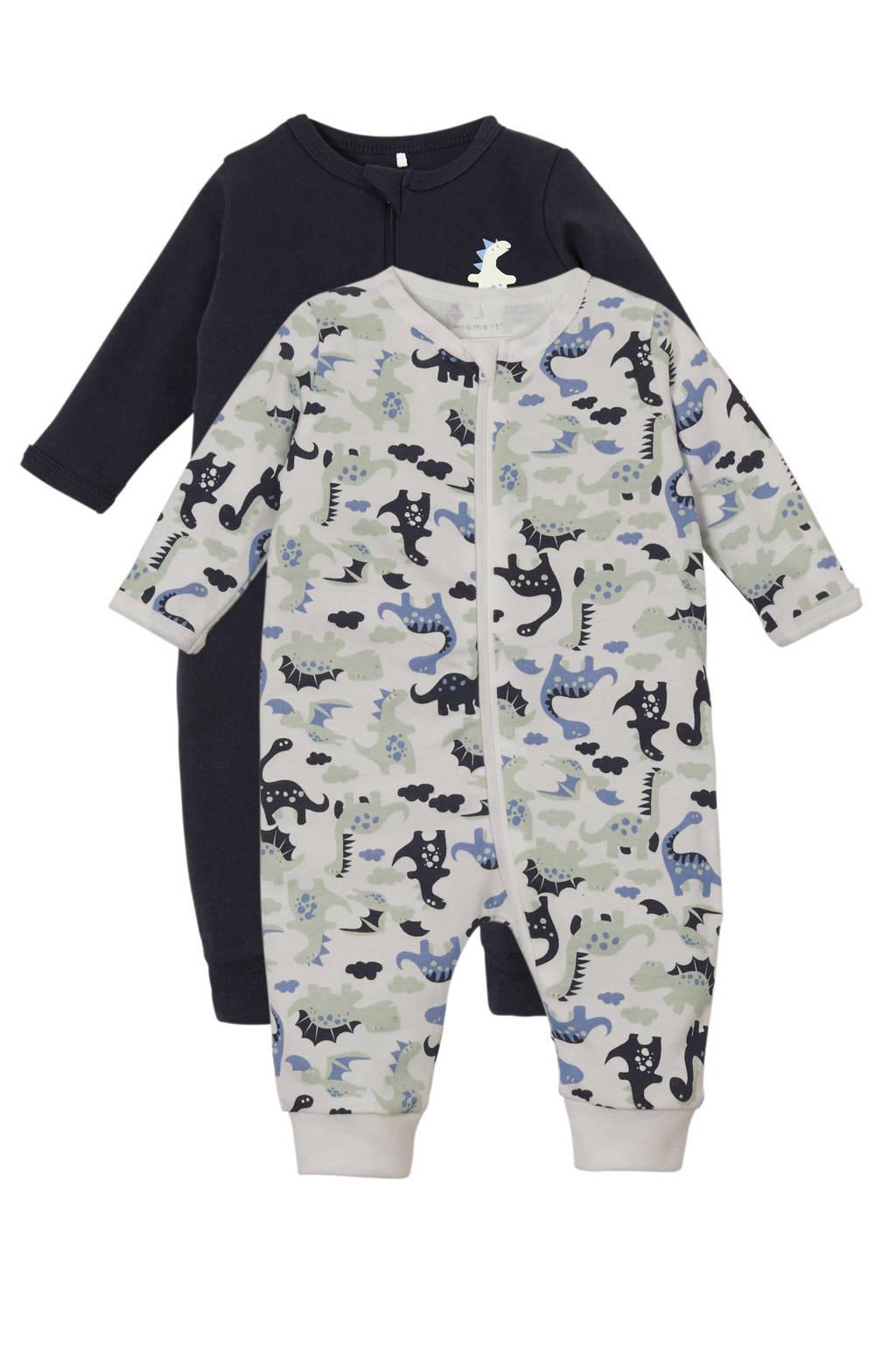NAME IT BABY   newborn baby pyjama - set van 2, Donkerblauw/mint/wit
