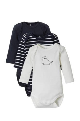 BABY baby rompers - set van 3 donkerblauw/wit