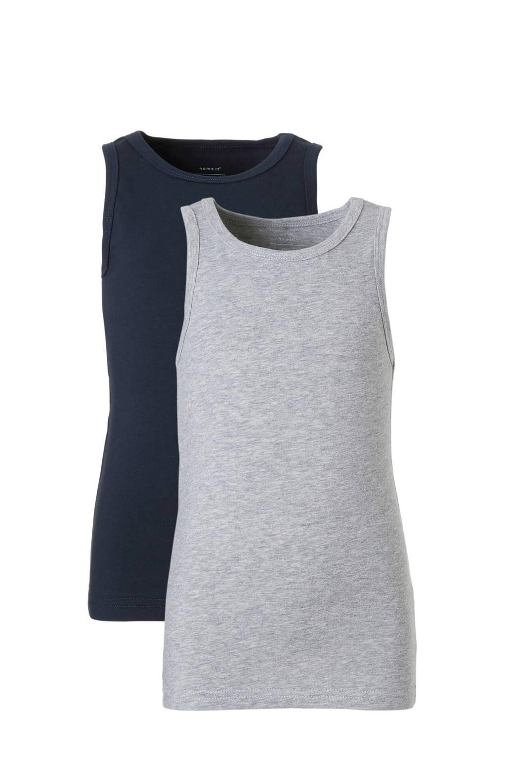 name it MINI hemd - set van 2, Donkerblauw/grijs
