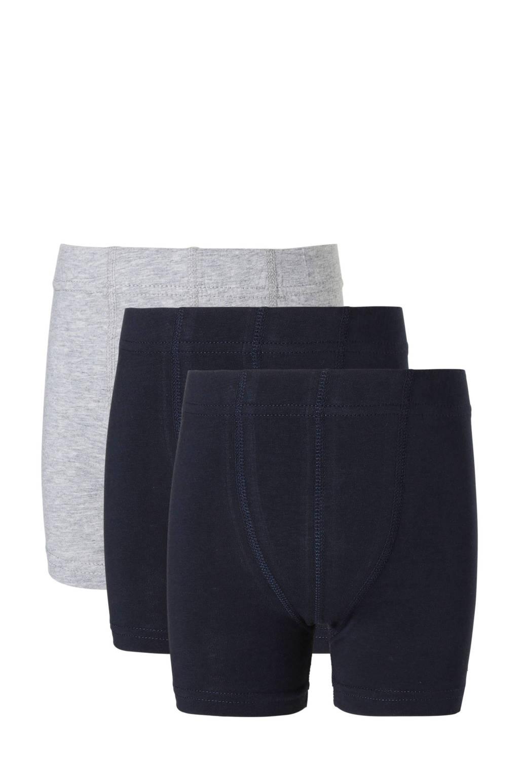 NAME IT MINI   boxershort - set van 3 donkerblauw/grijs melange, Donkerblauw/grijs melange