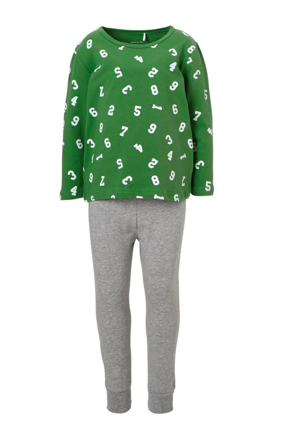 NAME IT MINI   pyjama met cijfers, Groen/ grijs melange