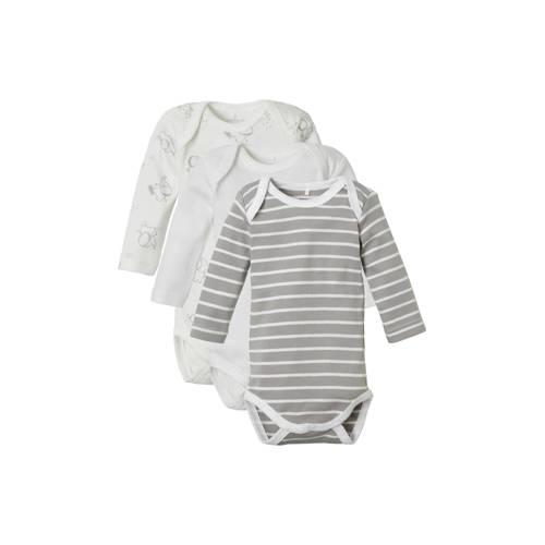 NAME IT BABY baby rompers - set van 3 wit/grijs