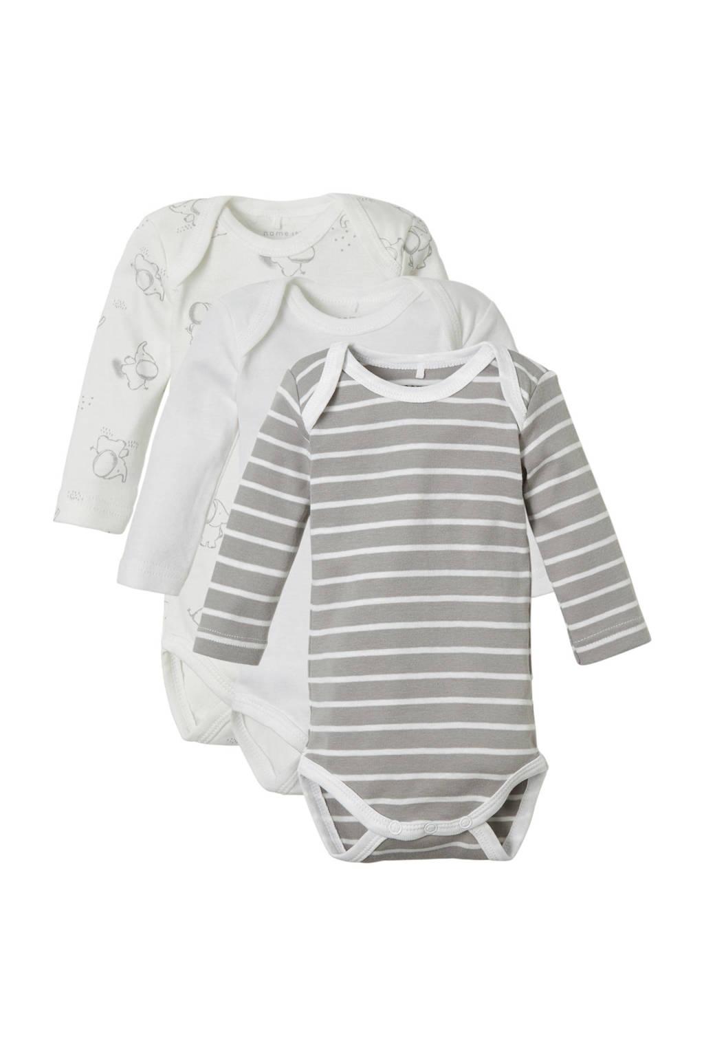 NAME IT BABY baby rompers - set van 3 wit/grijs, Wit/grijs