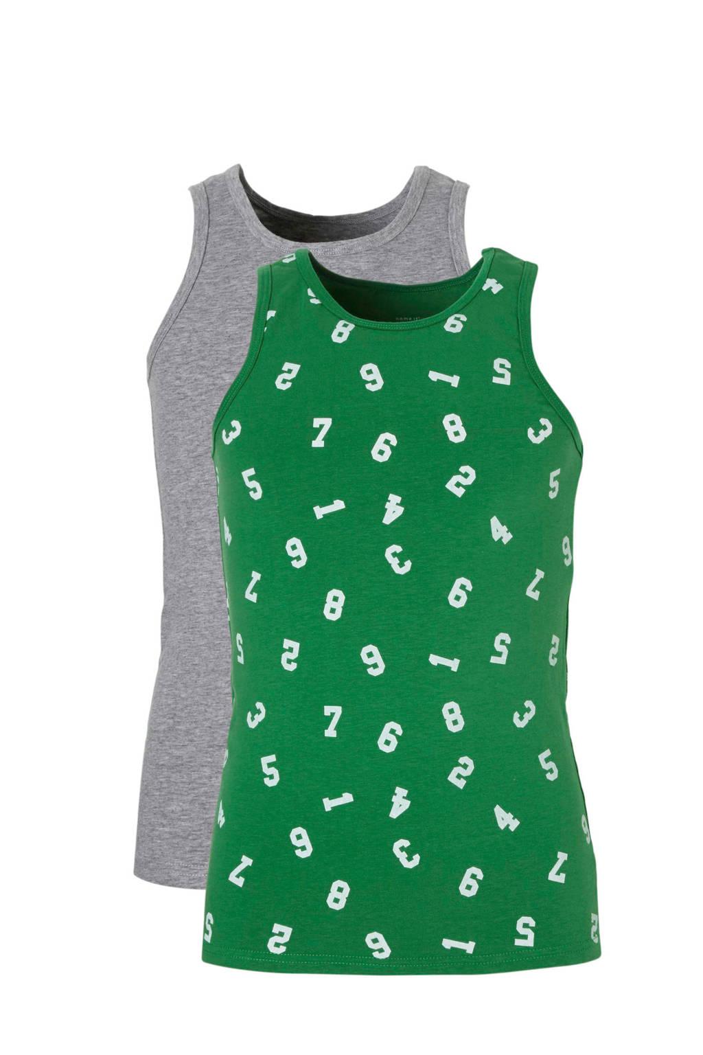 name it hemd ( set van 2 ), Groen/ grijs melange