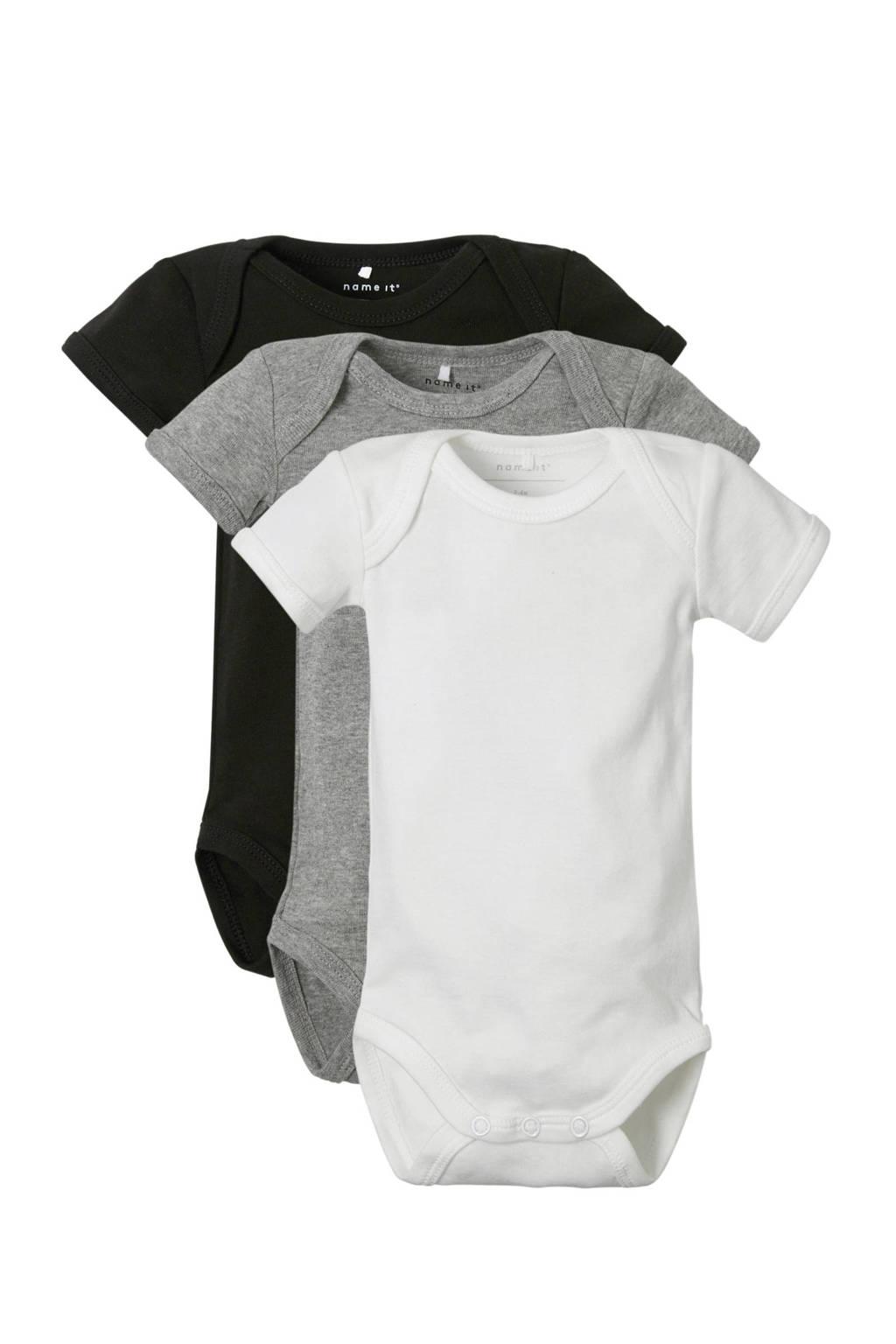 NAME IT BABY baby rompers uni - set van 3, Zwart/grijs/wit