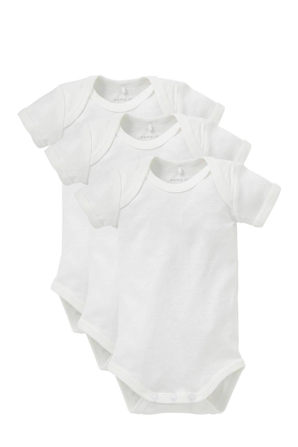 name it BABY newborn baby romper - set van 3, Wit