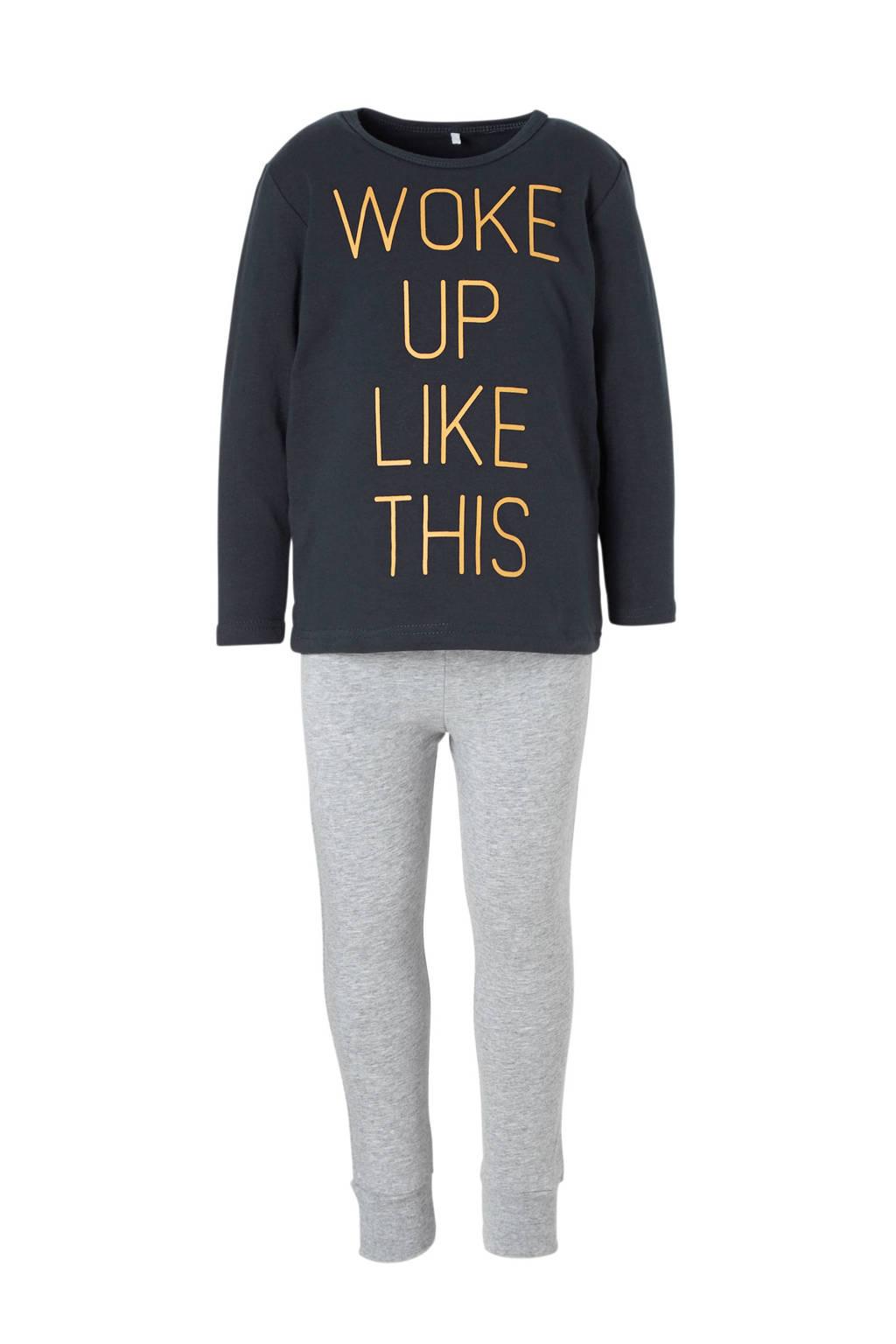name it MINI   pyjama met tekst blauw/grijs, Donkerblauw/grijs