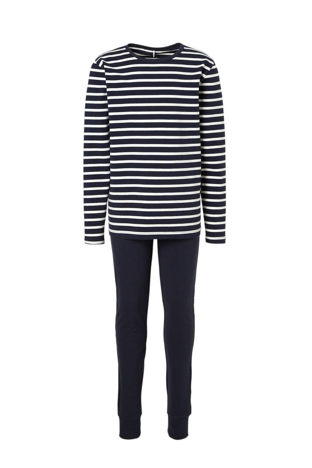 NAME IT   gestreepte pyjama blauw, Donkerblauw/wit