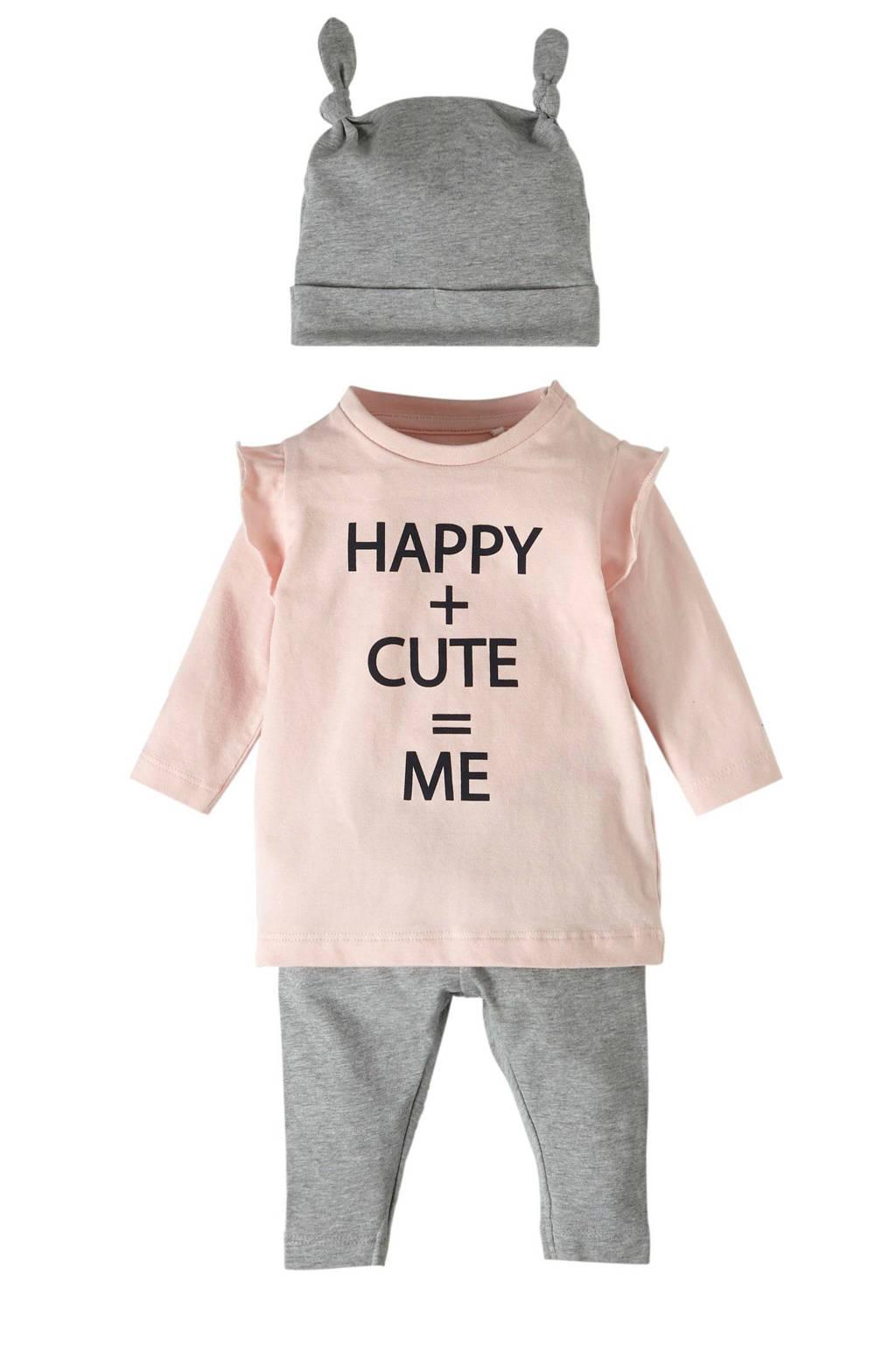 name it BABY baby longsleeve + broek + muts, Roze/ grijs melange