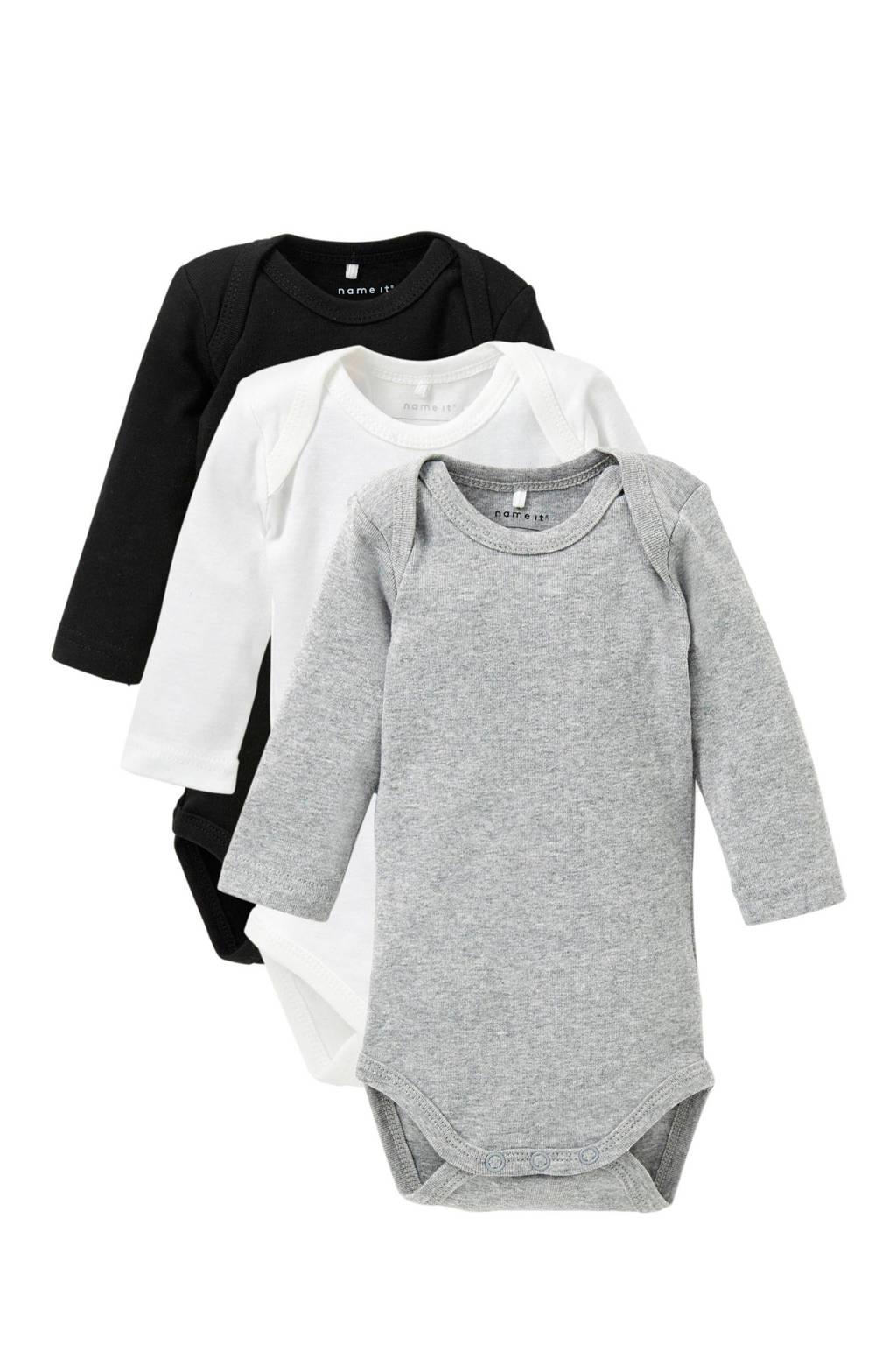 NAME IT BABY newborn baby romper - set van 3, Wit/ grijs/ zwart