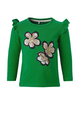 MINI longsleeve Tadi met bloem applicaties groen