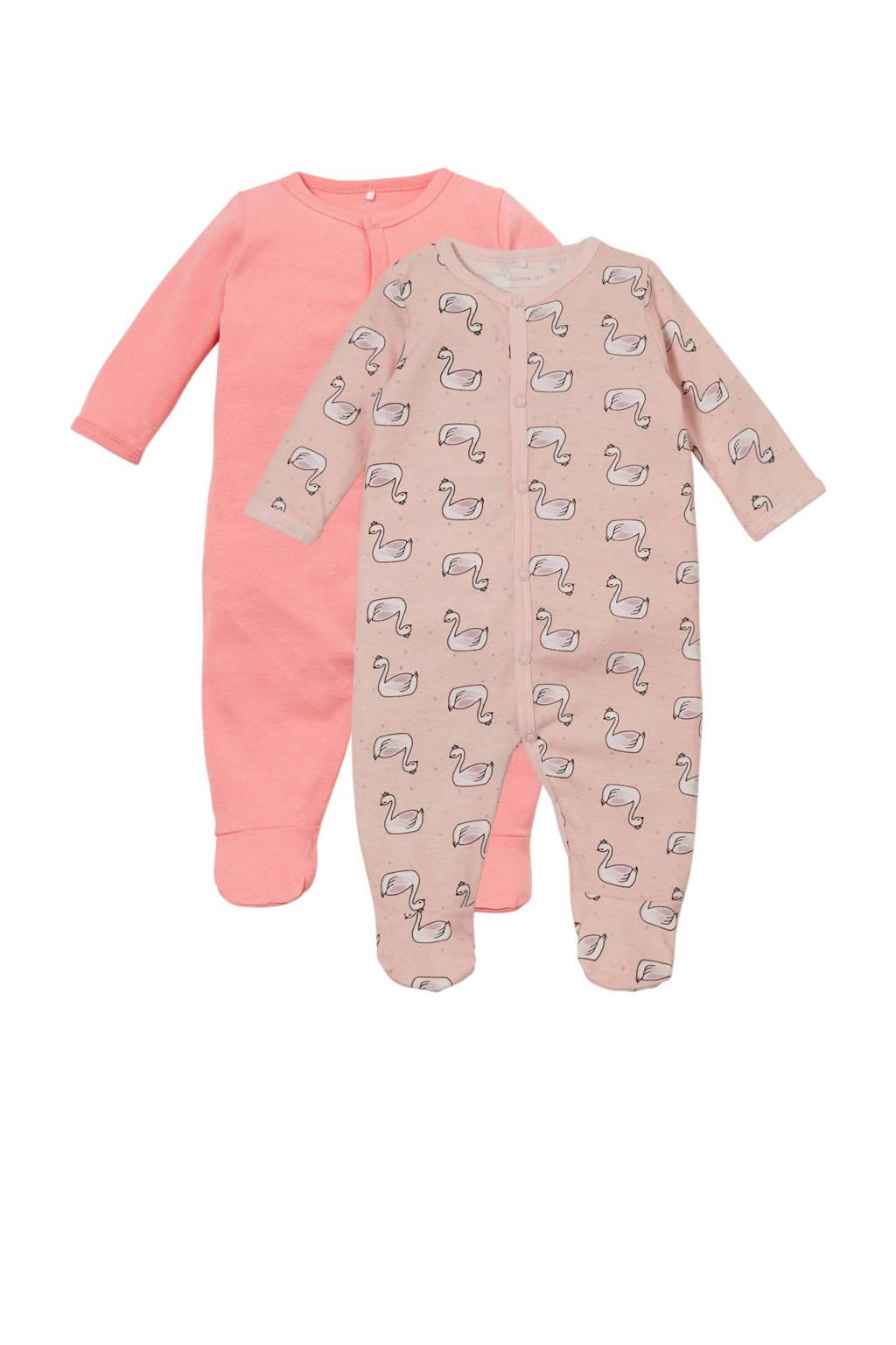 NAME IT BABY newborn baby pyjama - set van 2, Roze/lichtroze/wit