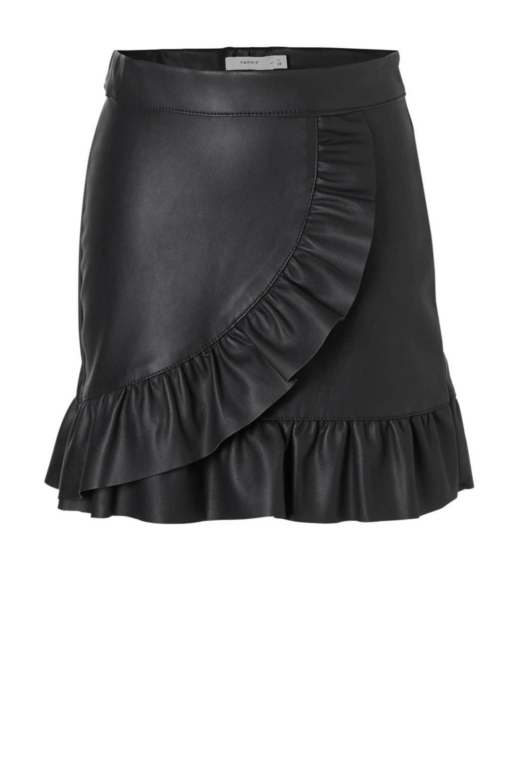 name it imitatieleren rok met volant zwart, Zwart